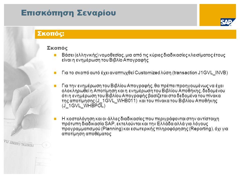 Επισκόπηση Σεναρίου Σκοπός  Βάσει (ελληνικής) νομοθεσίας, μια από τις κύριες διαδικασίες κλεισίματος έτους είναι η ενημέρωση του Βιβλίο Απογραφής  Γ