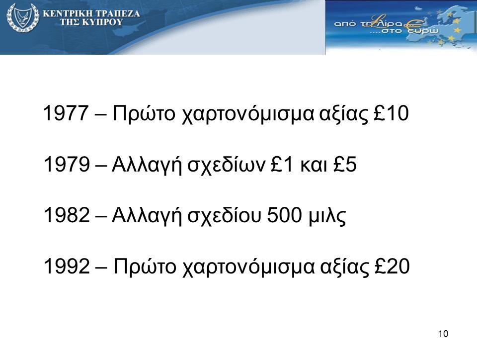 1977 – Πρώτο χαρτονόμισμα αξίας £10 1979 – Αλλαγή σχεδίων £1 και £5 1982 – Αλλαγή σχεδίου 500 μιλς 1992 – Πρώτο χαρτονόμισμα αξίας £20 10