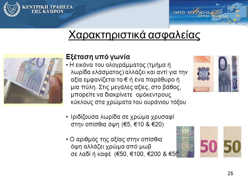 Εξέταση υπό γωνία • Η εικόνα του ολογράμματος (τμήμα ή λωρίδα ελάσματος) αλλάζει και αντί για την αξία εμφανίζεται το € ή ένα παράθυρο ή μια πύλη.