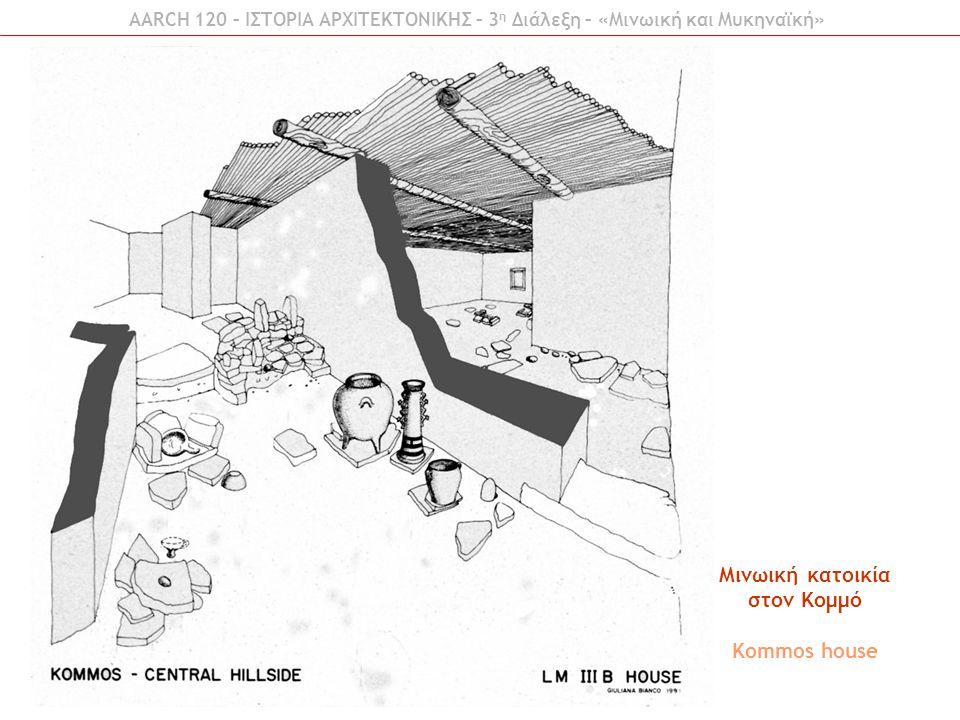AARCH 120 – ΙΣΤΟΡΙΑ ΑΡΧΙΤΕΚΤΟΝΙΚΗΣ – 3 η Διάλεξη – «Μινωική και Μυκηναϊκή» Μινωική κατοικία στον Κομμό Kommos house