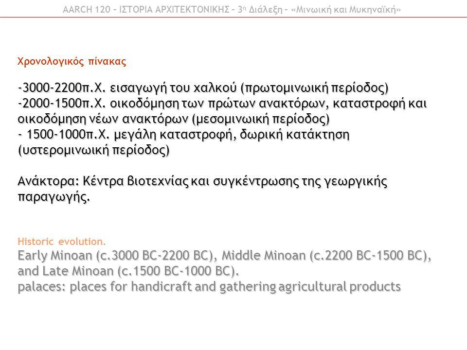 Χρονολογικός πίνακας -3000-2200π.Χ. εισαγωγή του χαλκού (πρωτομινωική περίοδος) -2000-1500π.Χ. οικοδόμηση των πρώτων ανακτόρων, καταστροφή και οικοδόμ