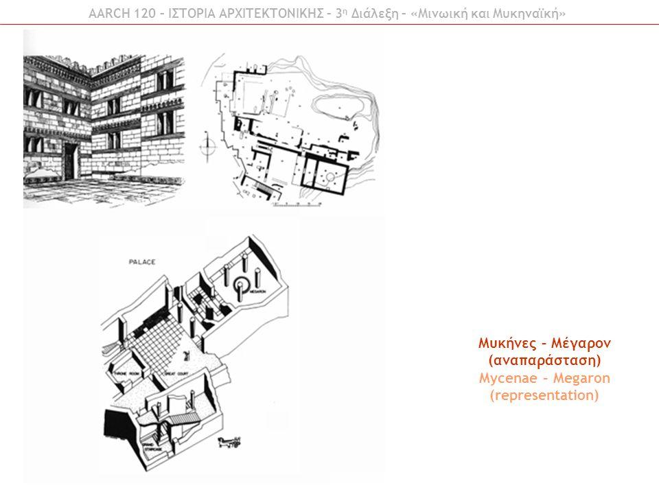 AARCH 120 – ΙΣΤΟΡΙΑ ΑΡΧΙΤΕΚΤΟΝΙΚΗΣ – 3 η Διάλεξη – «Μινωική και Μυκηναϊκή» Μυκήνες – Μέγαρον (αναπαράσταση) Mycenae – Megaron (representation)