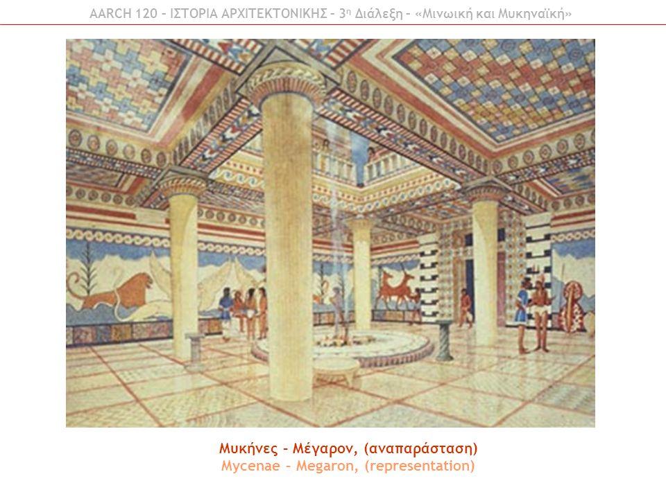 AARCH 120 – ΙΣΤΟΡΙΑ ΑΡΧΙΤΕΚΤΟΝΙΚΗΣ – 3 η Διάλεξη – «Μινωική και Μυκηναϊκή» Μυκήνες – Μέγαρον, (αναπαράσταση) Mycenae – Megaron, (representation)