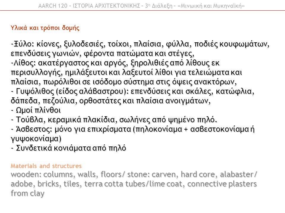 Υλικά και τρόποι δομής -Ξύλο: κίονες, ξυλοδεσιές, τοίχοι, πλαίσια, φύλλα, ποδιές κουφωμάτων, επενδύσεις γωνιών, φέροντα πατώματα και στέγες, -Λίθος: α