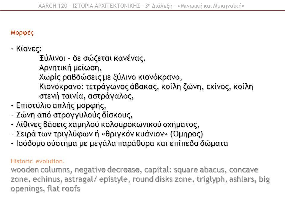 Μορφές - Κίονες: Ξύλινοι – δε σώζεται κανένας, Αρνητική μείωση, Χωρίς ραβδώσεις με ξύλινο κιονόκρανο, Κιονόκρανο: τετράγωνος άβακας, κοίλη ζώνη, εχίνο
