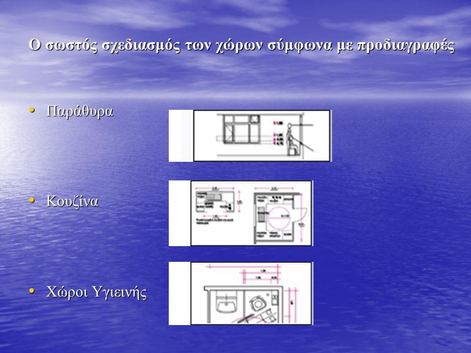Ο σωστός σχεδιασμός των χώρων σύμφωνα με προδιαγραφές • Παράθυρα • Κουζίνα • Χώροι Υγιεινής