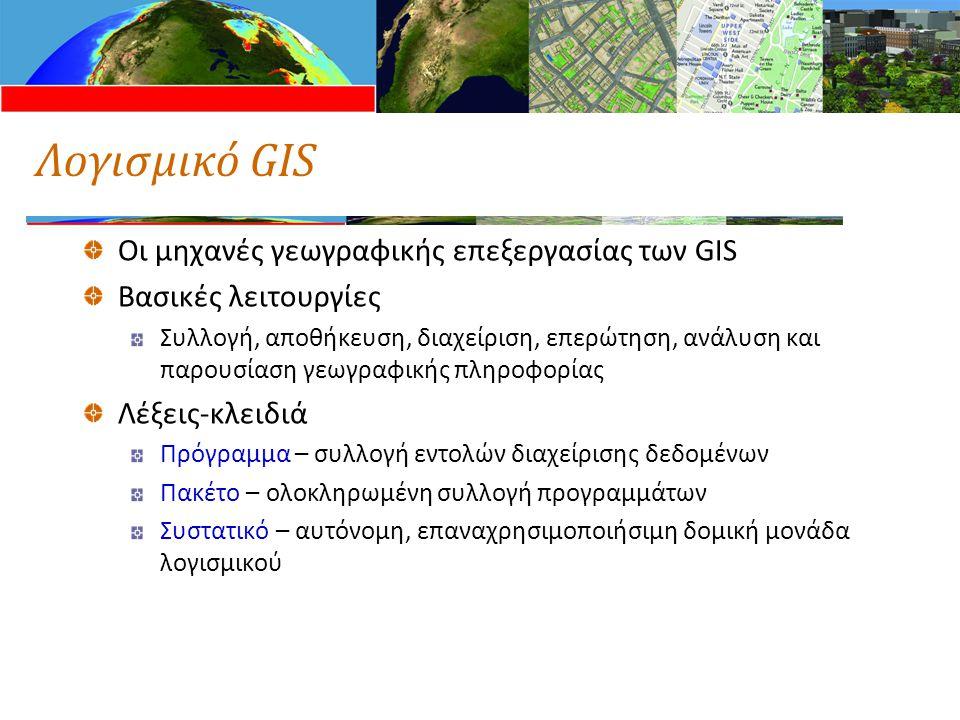 Λογισμικό GIS Οι μηχανές γεωγραφικής επεξεργασίας των GIS Βασικές λειτουργίες Συλλογή, αποθήκευση, διαχείριση, επερώτηση, ανάλυση και παρουσίαση γεωγραφικής πληροφορίας Λέξεις-κλειδιά Πρόγραμμα – συλλογή εντολών διαχείρισης δεδομένων Πακέτο – ολοκληρωμένη συλλογή προγραμμάτων Συστατικό – αυτόνομη, επαναχρησιμοποιήσιμη δομική μονάδα λογισμικού