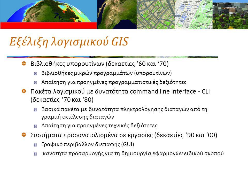 Εξέλιξη λογισμικού GIS Βιβλιοθήκες υπορουτίνων (δεκαετίες '60 και '70) Βιβλιοθήκες μικρών προγραμμάτων (υπορουτίνων) Απαίτηση για προηγμένες προγραμμα