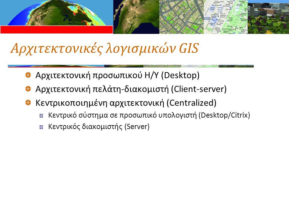 Αρχιτεκτονικές λογισμικών GIS Αρχιτεκτονική προσωπικού Η/Υ (Desktop) Αρχιτεκτονική πελάτη-διακομιστή (Client-server) Κεντρικοποιημένη αρχιτεκτονική (Centralized) Κεντρικό σύστημα σε προσωπικό υπολογιστή (Desktop/Citrix) Κεντρικός διακομιστής (Server)