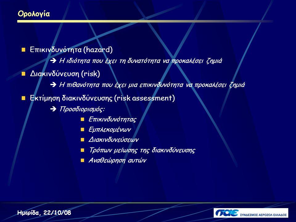 Ορολογία Ημερίδα, 22/10/08 Επικινδυνότητα (hazard)  Η ιδιότητα που έχει τη δυνατότητα να προκαλέσει ζημιά Διακινδύνευση (risk)  Η πιθανότητα που έχε