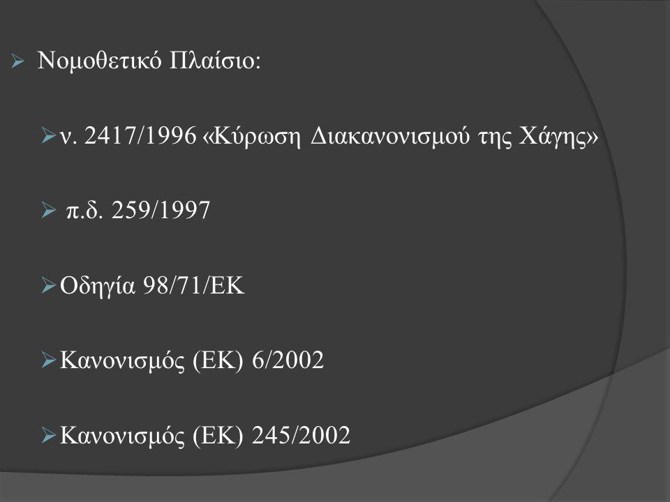  Νομοθετικό Πλαίσιο:  ν.2417/1996 «Κύρωση Διακανονισμού της Χάγης»  π.δ.