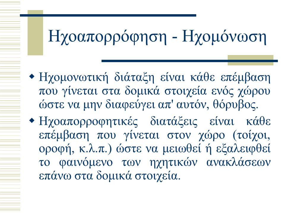 Ηχοαπορρόφηση - Ηχομόνωση  Hχομονωτική διάταξη είναι κάθε επέμβαση που γίνεται στα δομικά στοιχεία ενός χώρου ώστε να μην διαφεύγει απ' αυτόν, θόρυβο