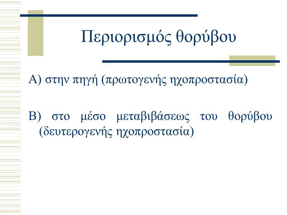 Περιορισμός θορύβου Α) στην πηγή (πρωτογενής ηχοπροστασία) Β) στο μέσο μεταβιβάσεως του θορύβου (δευτερογενής ηχοπροστασία)