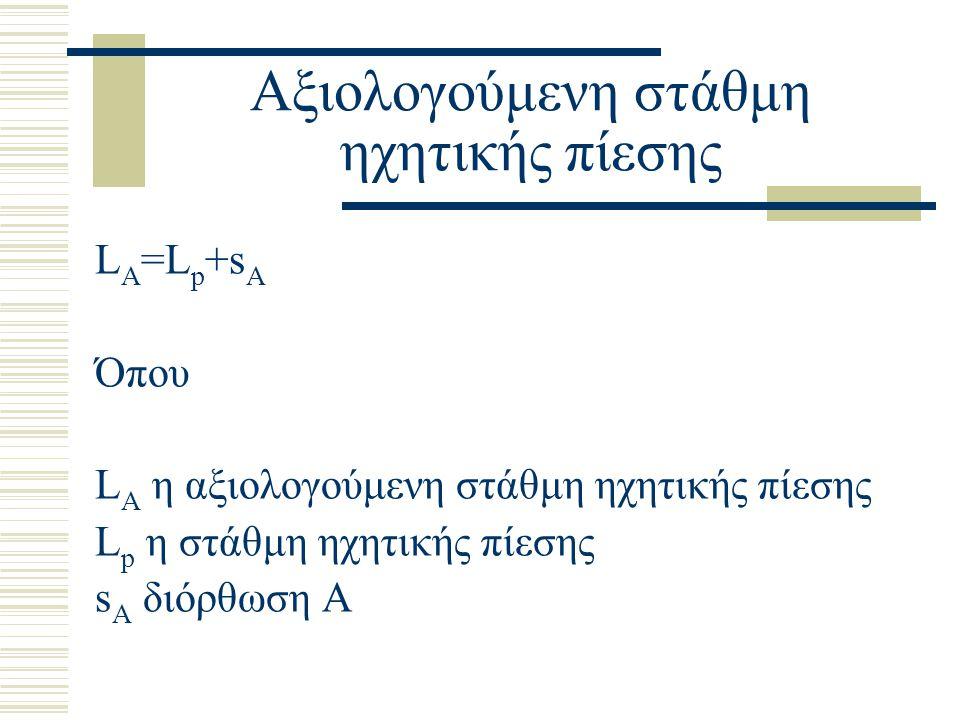 Αξιολογούμενη στάθμη ηχητικής πίεσης L A =L p +s A Όπου L A η αξιολογούμενη στάθμη ηχητικής πίεσης L p η στάθμη ηχητικής πίεσης s A διόρθωση Α