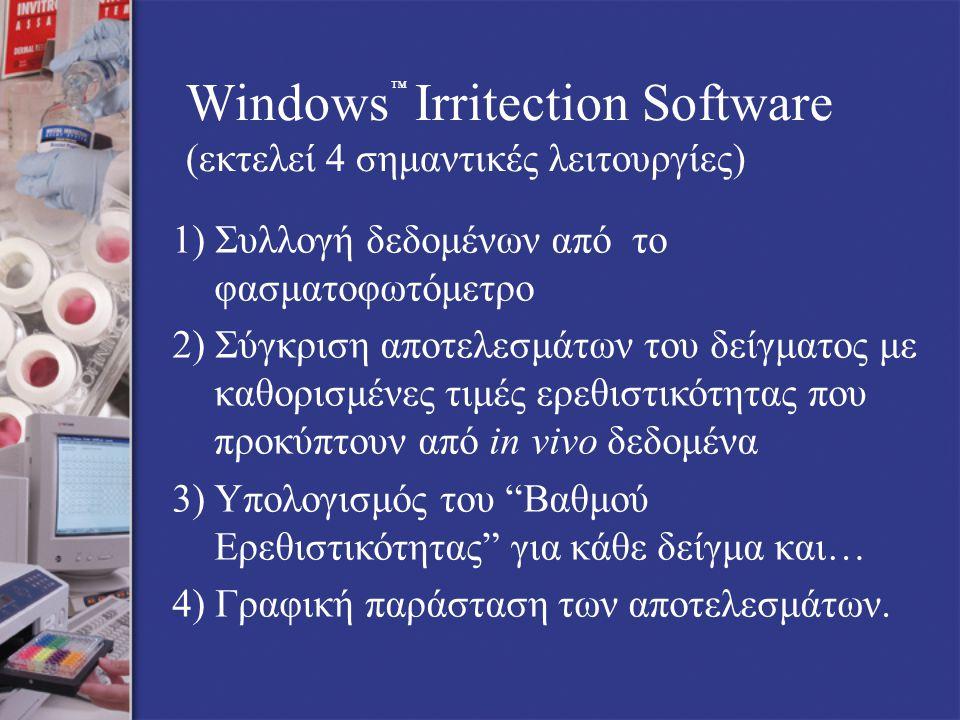 Windows Irritection Software (εκτελεί 4 σημαντικές λειτουργίες) 1) Συλλογή δεδομένων από το φασματοφωτόμετρο 2) Σύγκριση αποτελεσμάτων του δείγματος με καθορισμένες τιμές ερεθιστικότητας που προκύπτουν από in vivo δεδομένα 3) Υπολογισμός του Βαθμού Ερεθιστικότητας για κάθε δείγμα και… 4) Γραφική παράσταση των αποτελεσμάτων.