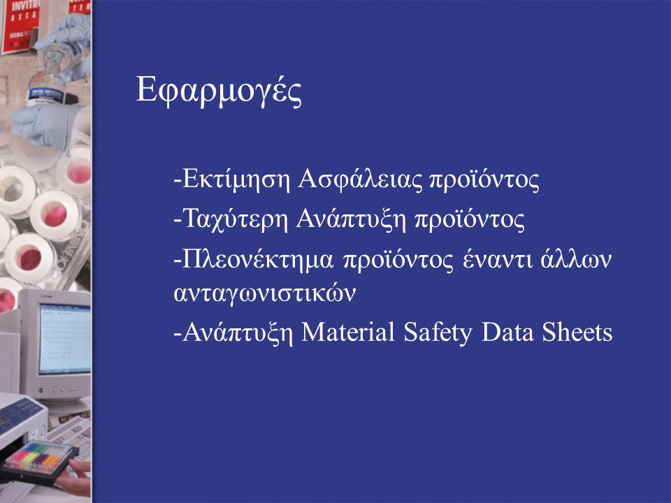 Εφαρμογές -Εκτίμηση Ασφάλειας προϊόντος -Ταχύτερη Ανάπτυξη προϊόντος -Πλεονέκτημα προϊόντος έναντι άλλων ανταγωνιστικών -Ανάπτυξη Material Safety Data Sheets