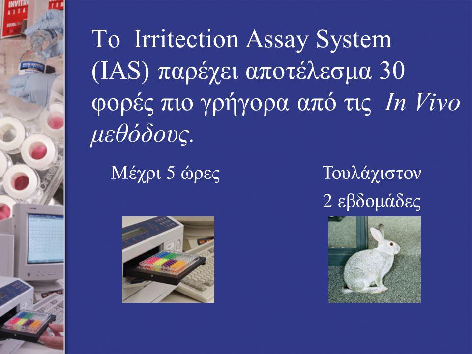Το Irritection Assay System (IAS) παρέχει αποτέλεσμα 30 φορές πιο γρήγορα από τις In Vivo μεθόδους.