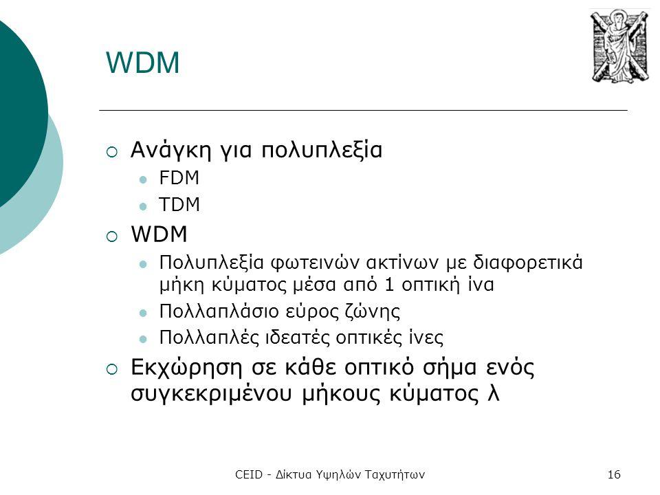 CEID - Δίκτυα Υψηλών Ταχυτήτων16 WDM  Ανάγκη για πολυπλεξία  FDM  TDM  WDM  Πολυπλεξία φωτεινών ακτίνων με διαφορετικά μήκη κύματος μέσα από 1 οπτική ίνα  Πολλαπλάσιο εύρος ζώνης  Πολλαπλές ιδεατές οπτικές ίνες  Εκχώρηση σε κάθε οπτικό σήμα ενός συγκεκριμένου μήκους κύματος λ