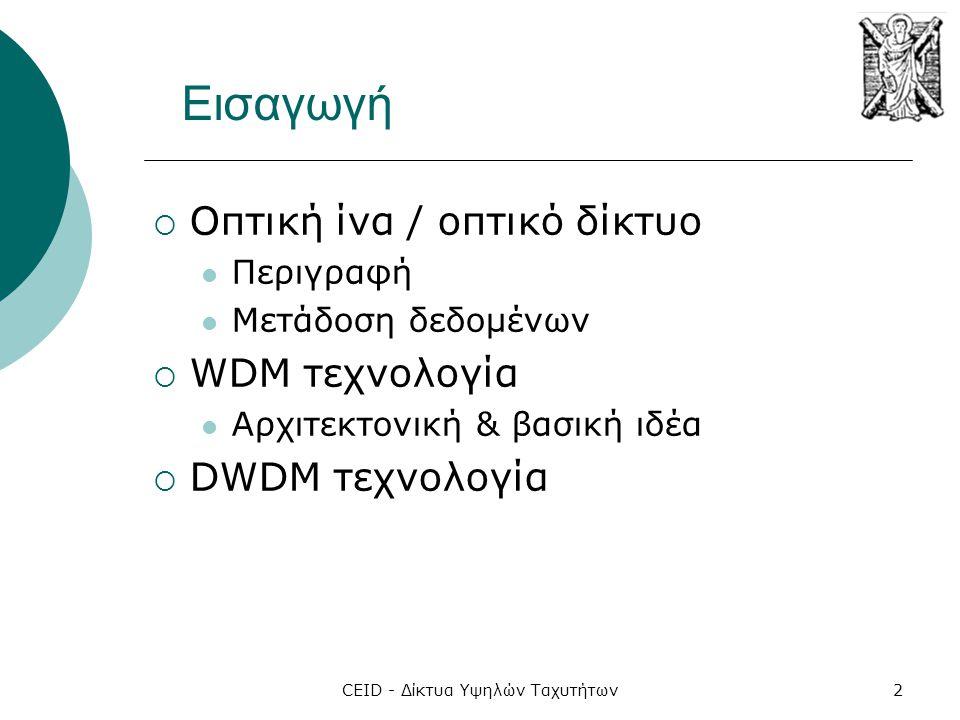 CEID - Δίκτυα Υψηλών Ταχυτήτων2 Εισαγωγή  Οπτική ίνα / οπτικό δίκτυο  Περιγραφή  Μετάδοση δεδομένων  WDM τεχνολογία  Αρχιτεκτονική & βασική ιδέα  DWDM τεχνολογία
