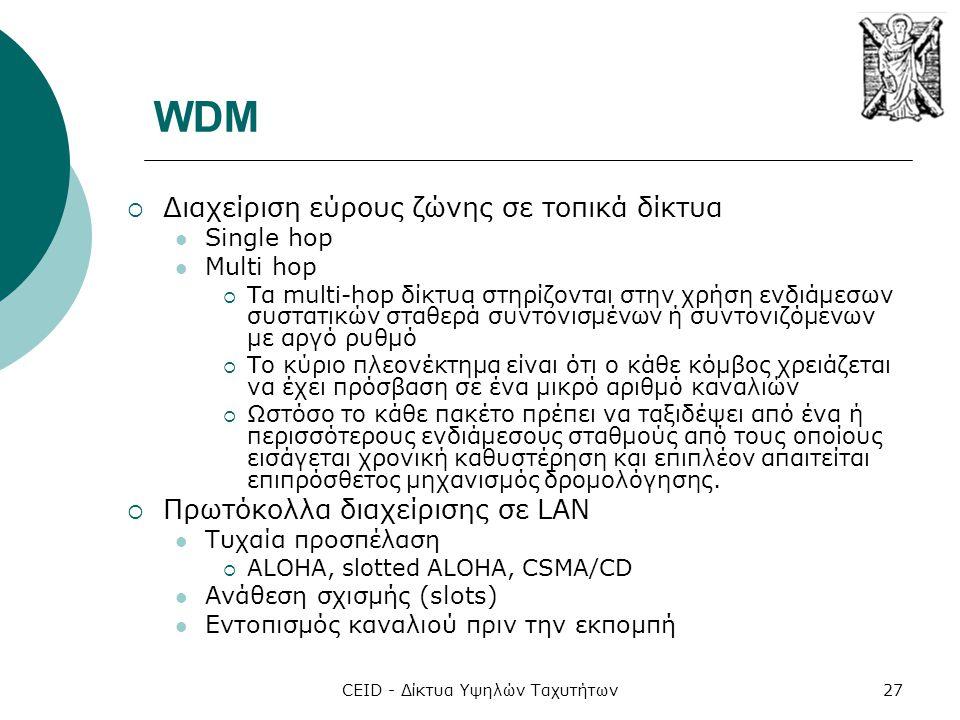 CEID - Δίκτυα Υψηλών Ταχυτήτων27 WDM  Διαχείριση εύρους ζώνης σε τοπικά δίκτυα  Single hop  Multi hop  Τα multi-hop δίκτυα στηρίζονται στην χρήση