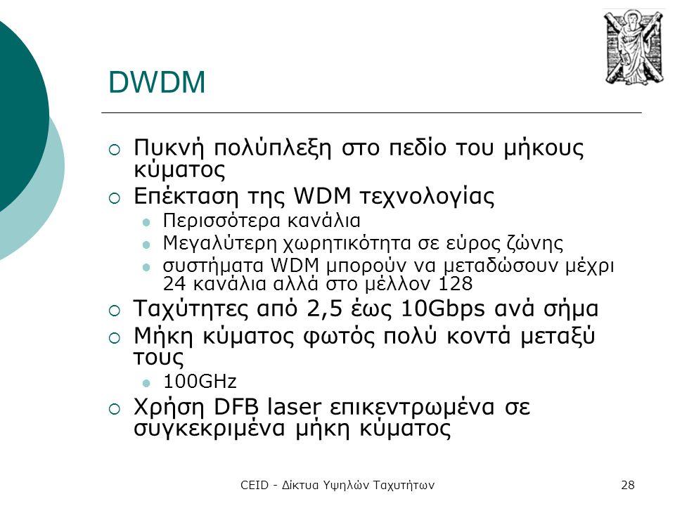 CEID - Δίκτυα Υψηλών Ταχυτήτων28 DWDM  Πυκνή πολύπλεξη στο πεδίο του μήκους κύματος  Επέκταση της WDM τεχνολογίας  Περισσότερα κανάλια  Μεγαλύτερη χωρητικότητα σε εύρος ζώνης  συστήματα WDM μπορούν να μεταδώσουν μέχρι 24 κανάλια αλλά στο μέλλον 128  Ταχύτητες από 2,5 έως 10Gbps ανά σήμα  Μήκη κύματος φωτός πολύ κοντά μεταξύ τους  100GHz  Χρήση DFB laser επικεντρωμένα σε συγκεκριμένα μήκη κύματος