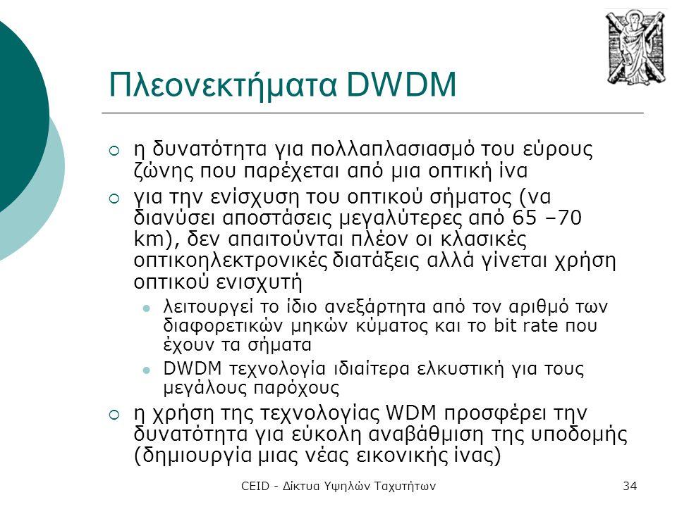 CEID - Δίκτυα Υψηλών Ταχυτήτων34 Πλεονεκτήματα DWDM  η δυνατότητα για πολλαπλασιασμό του εύρους ζώνης που παρέχεται από μια οπτική ίνα  για την ενίσχυση του οπτικού σήματος (να διανύσει αποστάσεις μεγαλύτερες από 65 –70 km), δεν απαιτούνται πλέον οι κλασικές οπτικοηλεκτρονικές διατάξεις αλλά γίνεται χρήση οπτικού ενισχυτή  λειτουργεί το ίδιο ανεξάρτητα από τον αριθμό των διαφορετικών μηκών κύματος και το bit rate που έχουν τα σήματα  DWDM τεχνολογία ιδιαίτερα ελκυστική για τους μεγάλους παρόχους  η χρήση της τεχνολογίας WDM προσφέρει την δυνατότητα για εύκολη αναβάθμιση της υποδομής (δημιουργία μιας νέας εικονικής ίνας)