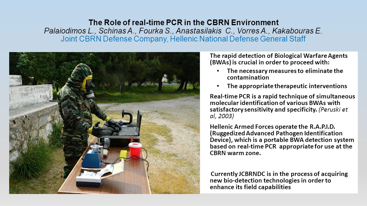 The Role of real-time PCR in the CBRN Environment Palaiodimos L., Schinas A., Fourka S., Anastasilakis C., Vorres A., Kakabouras E. Joint CBRN Defense