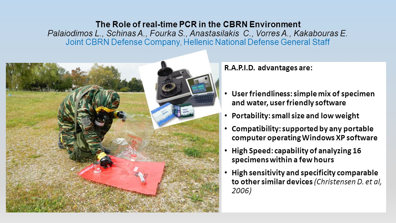 The Role of real-time PCR in the CBRN Environment Palaiodimos L., Schinas A., Fourka S., Anastasilakis C., Vorres A., Kakabouras E.