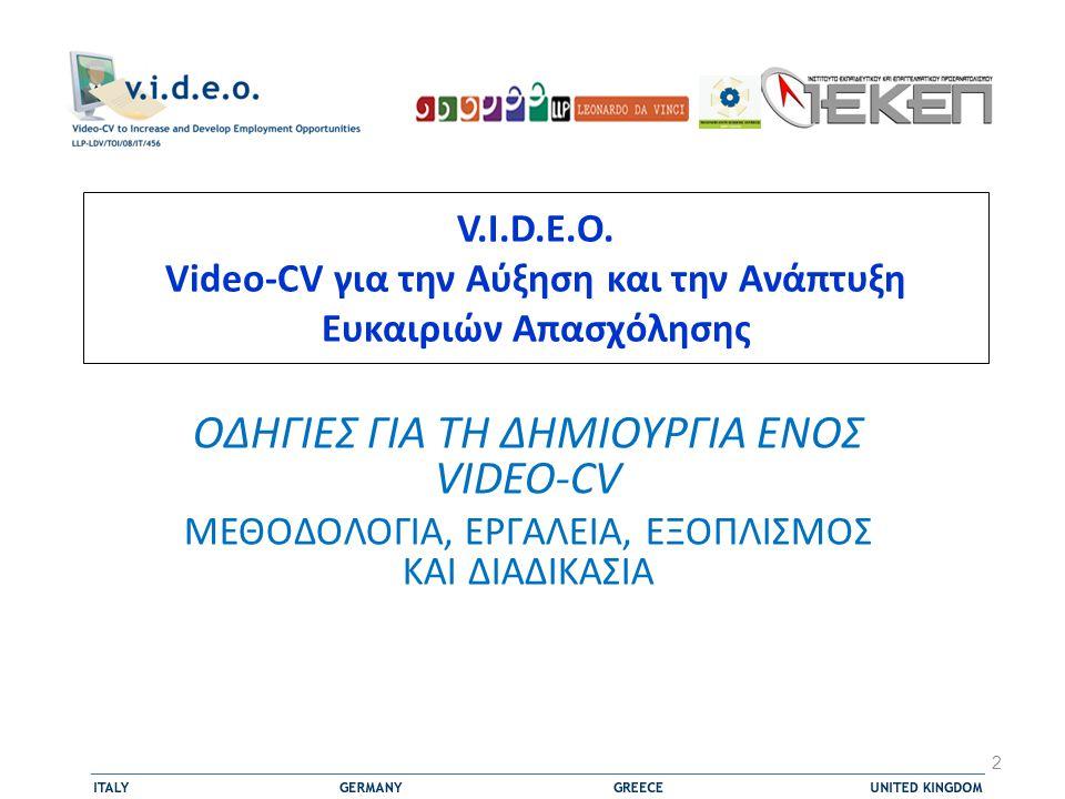  Η Vault.com, μια εταιρεία που ειδικεύεται σε υπηρεσίες ανθρώπινου δυναμικού και συμμετέχει στη δημιουργία Video-Cvs, πραγματοποίησε μια έρευνα σχετικά με τη χρήση και τη διάδοση του εργαλείου Video-CV  Σύμφωνα με τα αποτελέσματα της έρευνας, το 89% των εργοδοτών θα έβλεπαν ένα Video-CV αν τους υποβαλλόταν, αλλά μόνο 17% είχε δει ένα Video-CV όταν πραγματοποιήθηκε η έρευνα 13 Η έρευνα του 2007 για το VIDEO-CV www.vault.com/video-resume