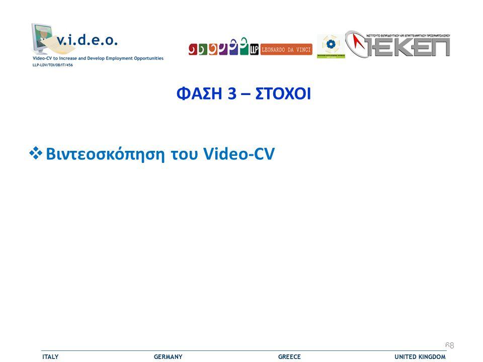 ΦΑΣΗ 3 – ΣΤΟΧΟΙ  Βιντεοσκόπηση του Video-CV 68