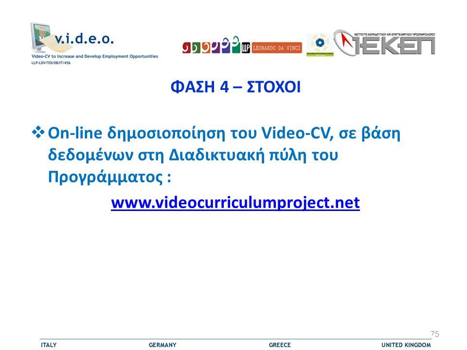 ΦΑΣΗ 4 – ΣΤΟΧΟΙ  On-line δημοσιοποίηση του Video-CV, σε βάση δεδομένων στη Διαδικτυακή πύλη του Προγράμματος : www.videocurriculumproject.net 75