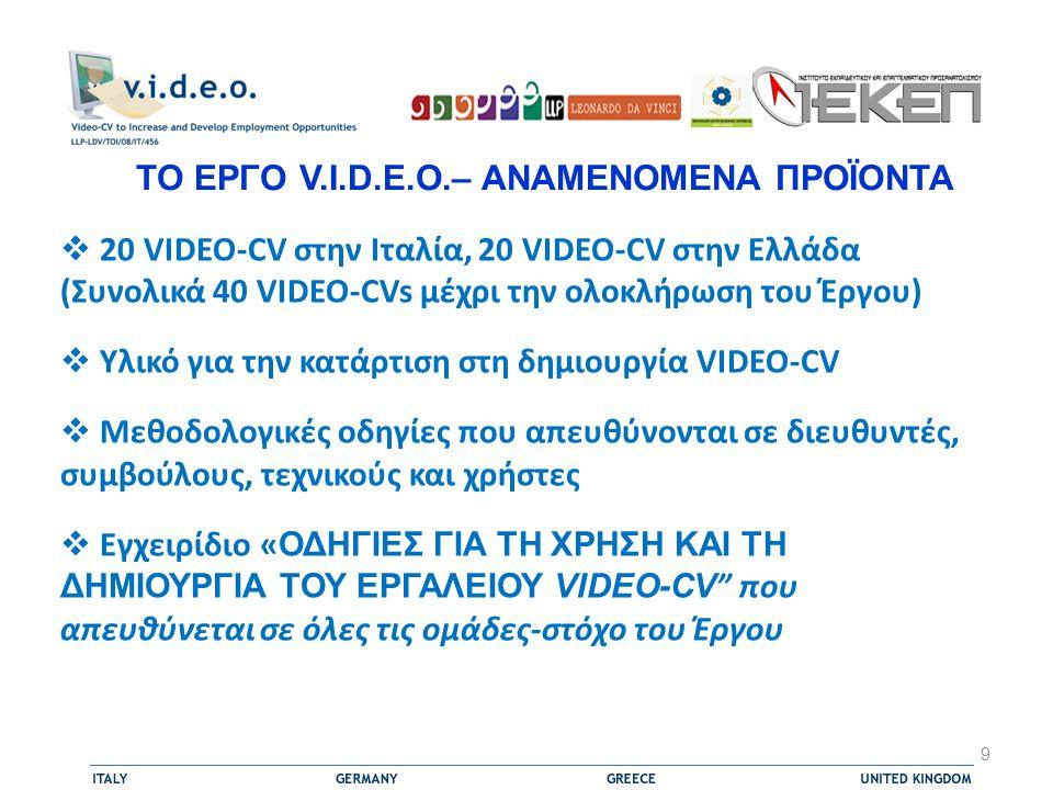 ΤΟ ΕΡΓΟ V.I.D.E.O.– ΑΝΑΜΕΝΟΜΕΝΑ ΠΡΟΪΟΝΤΑ  20 VIDEO-CV στην Ιταλία, 20 VIDEO-CV στην Ελλάδα (Συνολικά 40 VIDEO-CVs μέχρι την ολοκλήρωση του Έργου)  Υλικό για την κατάρτιση στη δημιουργία VIDEO-CV  Μεθοδολογικές οδηγίες που απευθύνονται σε διευθυντές, συμβούλους, τεχνικούς και χρήστες  Εγχειρίδιο « ΟΔΗΓΙΕΣ ΓΙΑ ΤΗ ΧΡΗΣΗ ΚΑΙ ΤΗ ΔΗΜΙΟΥΡΓΙΑ ΤΟΥ ΕΡΓΑΛΕΙΟΥ VIDEO-CV που απευθύνεται σε όλες τις ομάδες-στόχο του Έργου 9