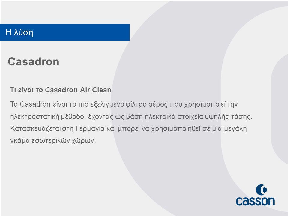 Casadron Τι είναι το Casadron Air Clean Το Casadron είναι το πιο εξελιγμένο φίλτρο αέρος που χρησιμοποιεί την ηλεκτροστατική μέθοδο, έχοντας ως βάση η