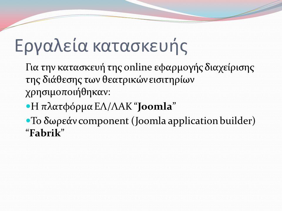 Εργαλεία κατασκευής Για την κατασκευή της online εφαρμογής διαχείρισης της διάθεσης των θεατρικών εισιτηρίων χρησιμοποιήθηκαν:  Η πλατφόρμα ΕΛ/ΛΑΚ Joomla  Το δωρεάν component (Joomla application builder) Fabrik