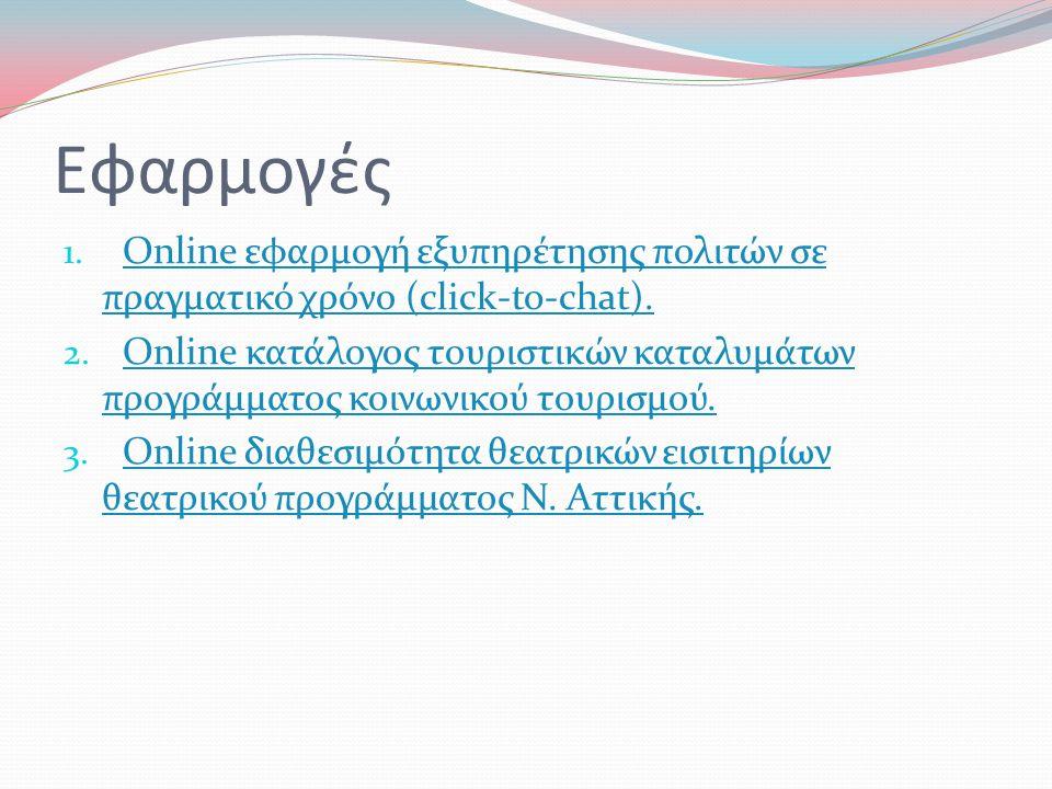 Εφαρμογές 1. Online εφαρμογή εξυπηρέτησης πολιτών σε πραγματικό χρόνο (click-to-chat).