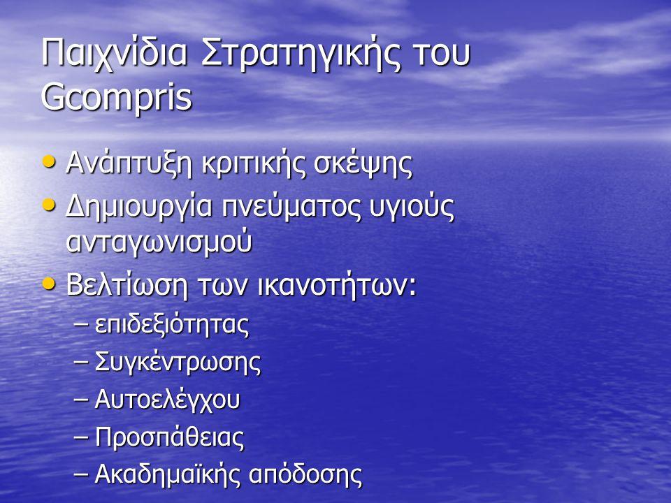 Παιχνίδια Στρατηγικής του Gcompris • Ανάπτυξη κριτικής σκέψης • Δημιουργία πνεύματος υγιούς ανταγωνισμού • Βελτίωση των ικανοτήτων: –επιδεξιότητας –Συγκέντρωσης –Αυτοελέγχου –Προσπάθειας –Ακαδημαϊκής απόδοσης