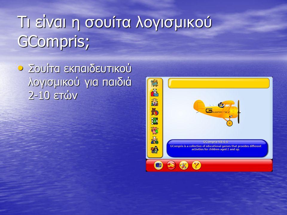 Τι είναι η σουίτα λογισμικού GCompris; • Σουίτα εκπαιδευτικού λογισμικού για παιδιά 2-10 ετών • Δημιουργήθηκε το 2000 από το ν Bruno Coudoin