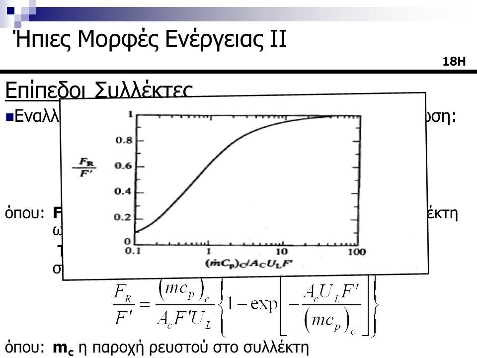 Επίπεδοι Συλλέκτες  Εναλλακτικά η ωφέλιμη ενέργεια δίνεται από την εξίσωση: όπου: F c συντελεστής που εκφράζει τη λειτουργία του συλλέκτη ως εναλλάκτ