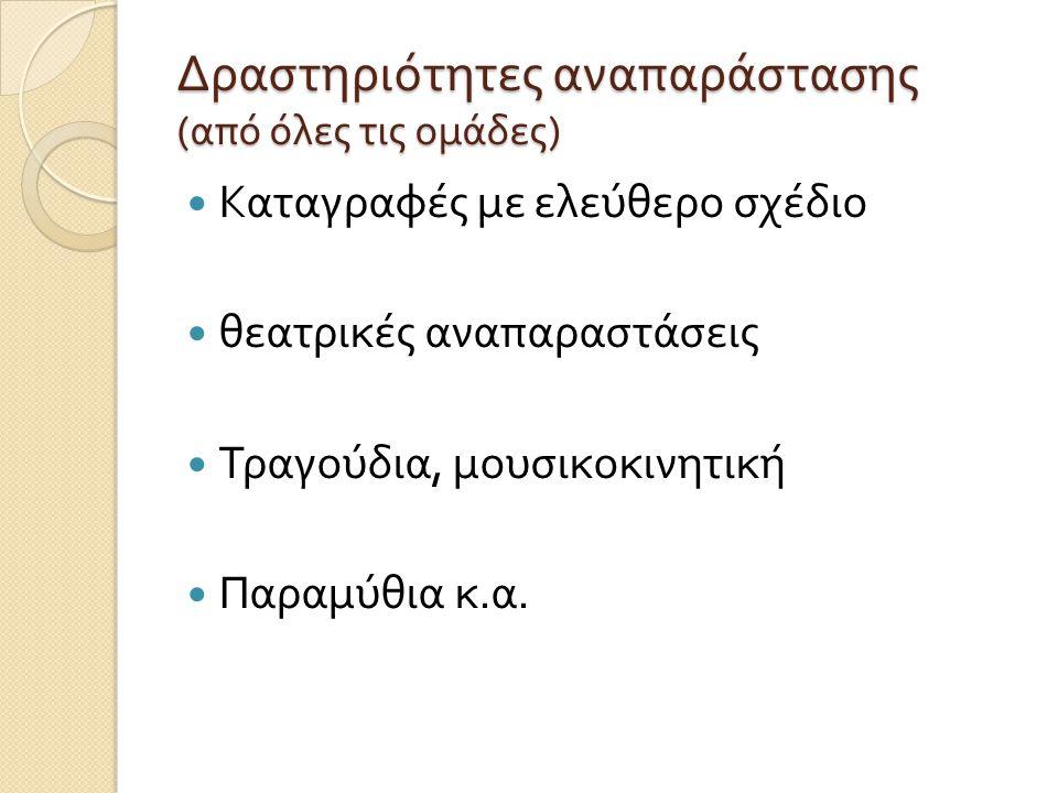 Δραστηριότητες αναπαράστασης ( από όλες τις ομάδες )  Καταγραφές με ελεύθερο σχέδιο  θεατρικές αναπαραστάσεις  Τραγούδια, μουσικοκινητική  Παραμύθ