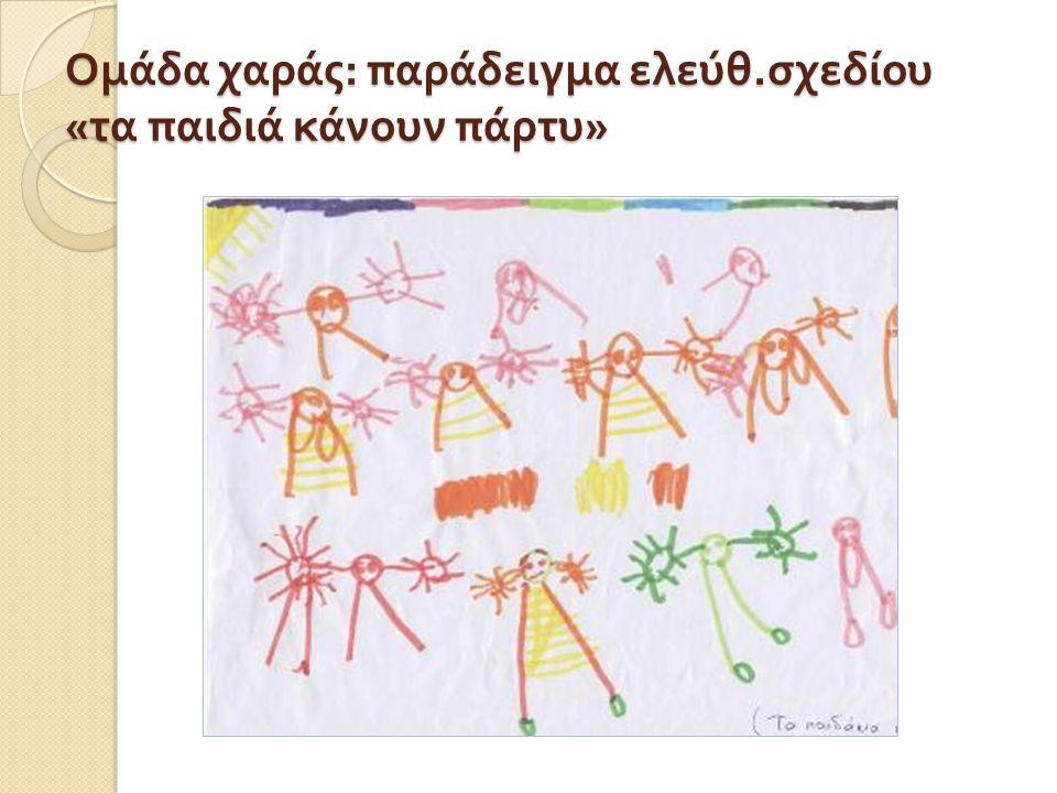 Ομάδα χαράς : παράδειγμα ελεύθ. σχεδίου « τα παιδιά κάνουν πάρτυ »
