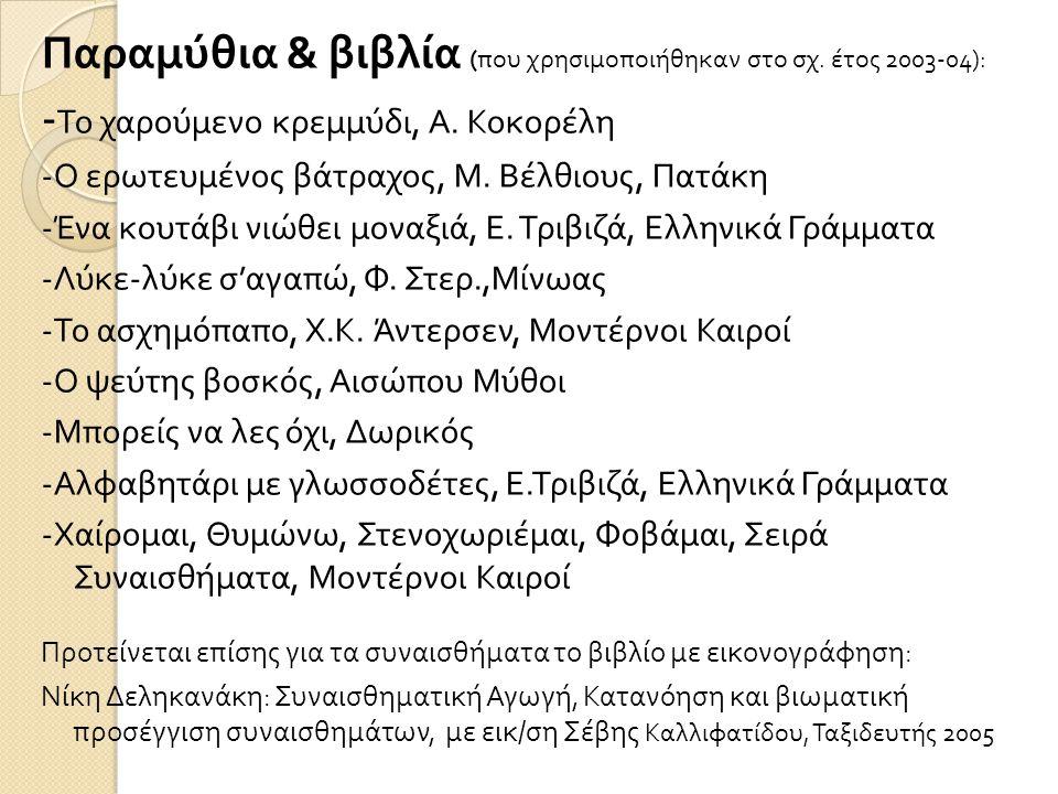 Παραμύθια & βιβλία ( που χρησιμοποιήθηκαν στο σχ. έτος 2003-04): - Το χαρούμενο κρεμμύδι, Α. Κοκορέλη - Ο ερωτευμένος βάτραχος, Μ. Βέλθιους, Πατάκη -