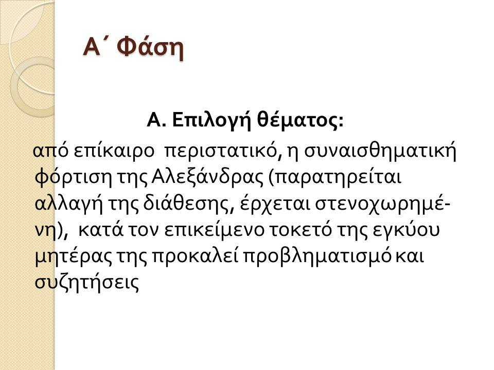 Α΄ Φάση Α. Επιλογή θέματος : από επίκαιρο περιστατικό, η συναισθηματική φόρτιση της Αλεξάνδρας ( παρατηρείται αλλαγή της διάθεσης, έρχεται στενοχωρημέ