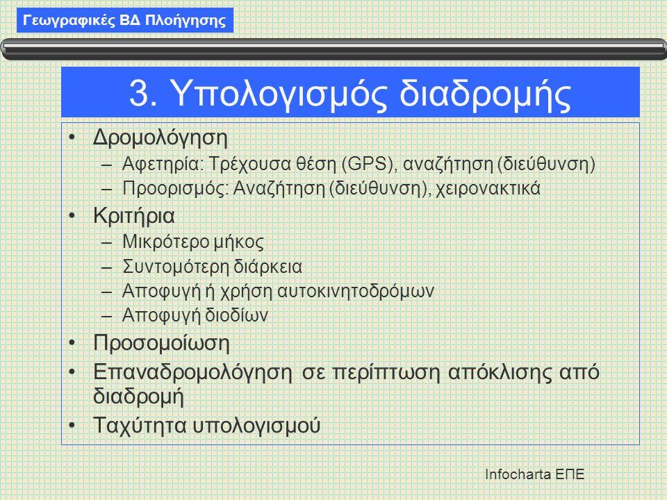 Γεωγραφικές ΒΔ Πλοήγησης Infocharta ΕΠΕ 3. Υπολογισμός διαδρομής •Δρομολόγηση –Αφετηρία: Τρέχουσα θέση (GPS), αναζήτηση (διεύθυνση) –Προορισμός: Αναζή