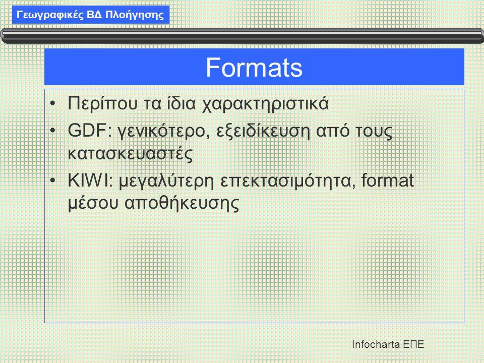 Γεωγραφικές ΒΔ Πλοήγησης Infocharta ΕΠΕ Formats •Περίπου τα ίδια χαρακτηριστικά •GDF: γενικότερο, εξειδίκευση από τους κατασκευαστές •KIWI: μεγαλύτερη επεκτασιμότητα, format μέσου αποθήκευσης