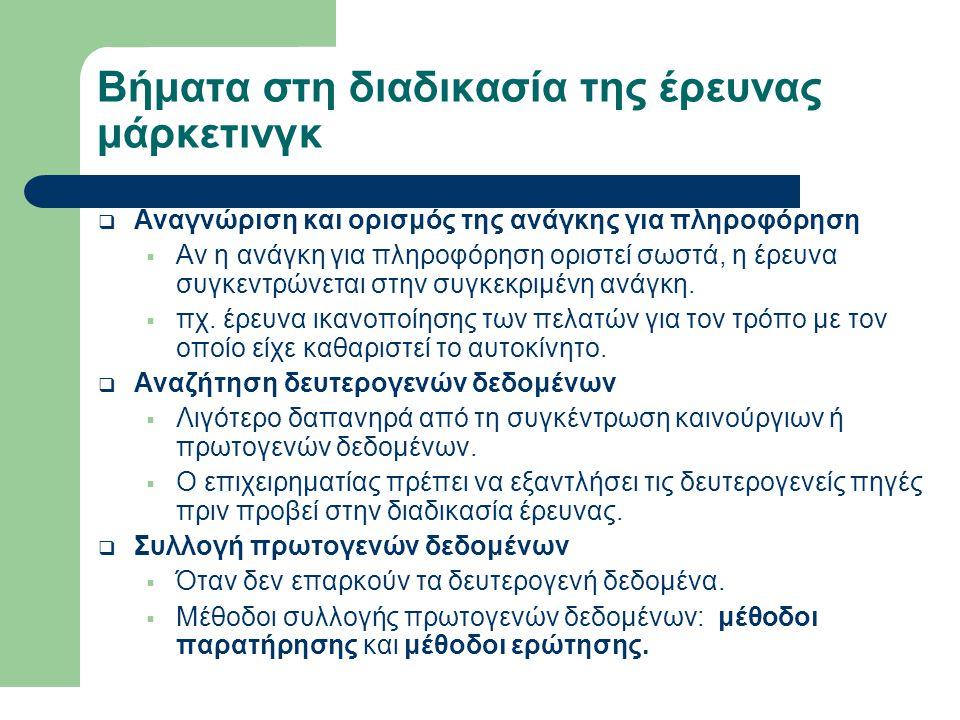 Βήματα στη διαδικασία της έρευνας μάρκετινγκ (συνέχεια)  Μέθοδοι παρατήρησης  Η παρατήρηση – πχ.
