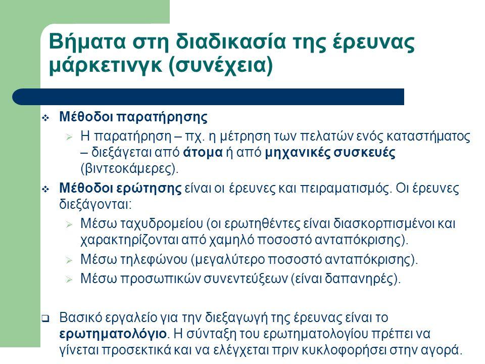 Βήματα στη διαδικασία της έρευνας μάρκετινγκ (συνέχεια)  Μέθοδοι παρατήρησης  Η παρατήρηση – πχ. η μέτρηση των πελατών ενός καταστήματος – διεξάγετα