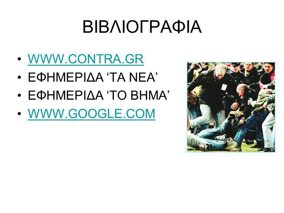 ΒΙΒΛΙΟΓΡΑΦΙΑ •WWW.CONTRA.GRWWW.CONTRA.GR •ΕΦΗΜΕΡΙΔΑ 'ΤΑ ΝΕΑ' •ΕΦΗΜΕΡΙΔΑ 'ΤΟ ΒΗΜΑ' •WWW.GOOGLE.COMWWW.GOOGLE.COM