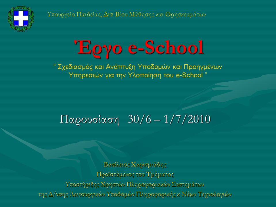 Υπουργείο Παιδείας, Δια Βίου Μάθησης και Θρησκευμάτων Έργο e-School Παρουσίαση 30/6 – 1/7/2010 Βασίλειος Χαρισμιάδης Προϊστάμενος του Τμήματος Υποστήρ