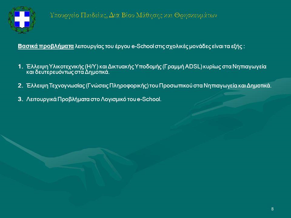 8 Υπουργείο Παιδείας, Δια Βίου Μάθησης και Θρησκευμάτων Βασικά προβλήματα λειτουργίας του έργου e-School στις σχολικές μονάδες είναι τα εξής : 1. Έλλε