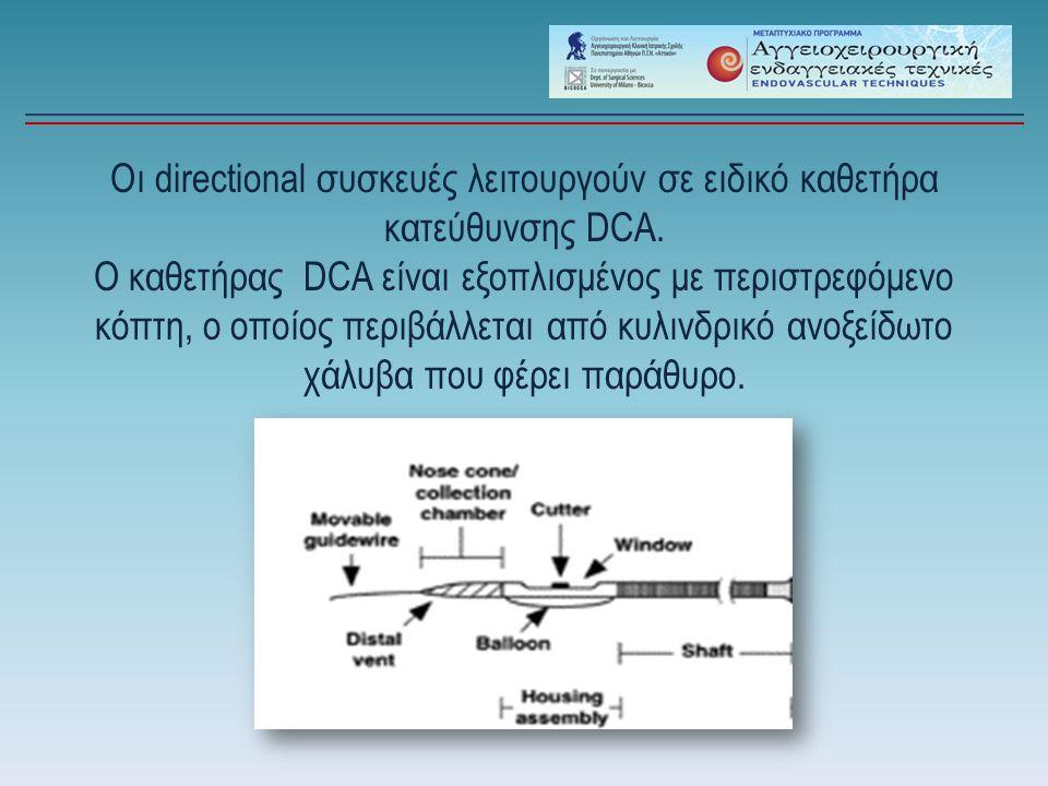 Οι directional συσκευές λειτουργούν σε ειδικό καθετήρα κατεύθυνσης DCA. Ο καθετήρας DCA είναι εξοπλισμένος με περιστρεφόμενο κόπτη, ο οποίος περιβάλλε